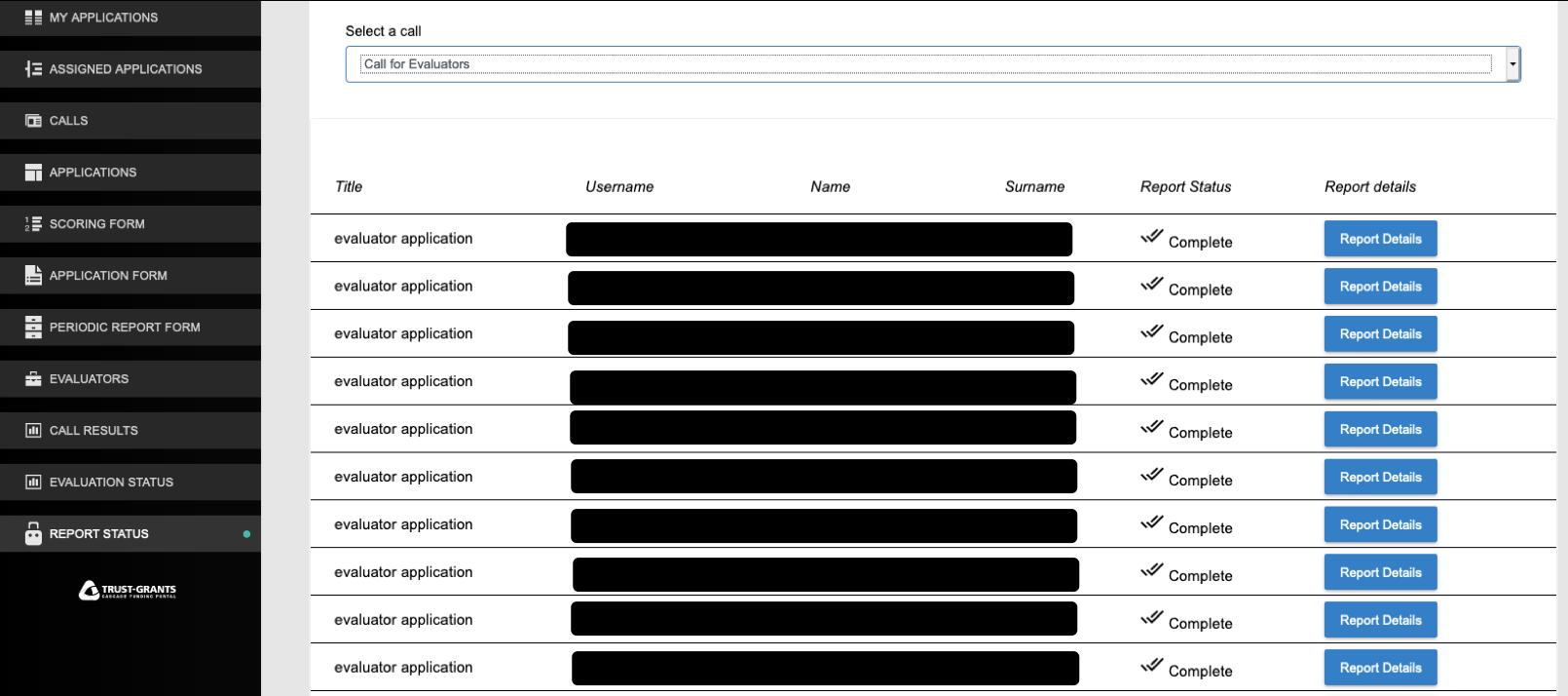 Trust-IT Grants Plaftorm - Monitoring Reporting System