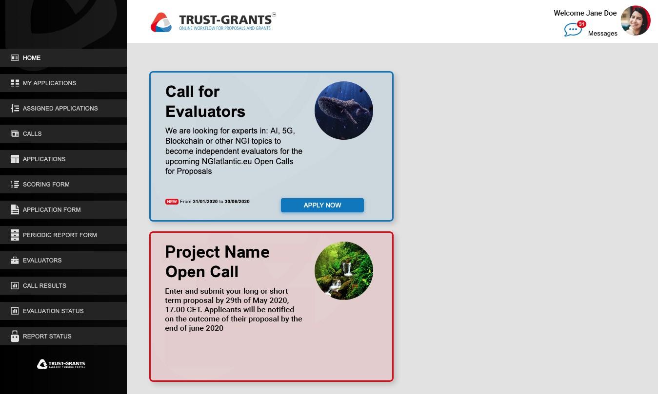 Trust-IT Grants Platform homepage